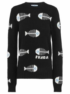 Prada fishbone intarsia jumper - Black