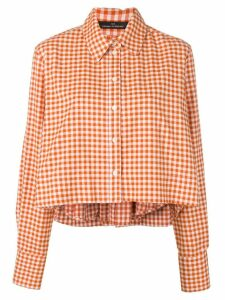 Rokh checked back pleat shirt - ORANGE