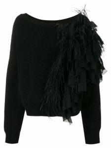 Nº21 feather appliqué sweater - Black