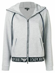 Emporio Armani zip front logo waistband hoodie - Grey