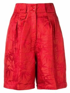 Etro palm leaves printed shorts - Red