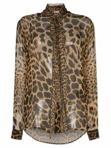 Saint Laurent tie-neck leopard-print blouse - Brown