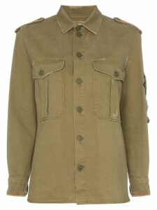 Saint Laurent embellished military shirt - Green