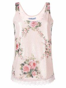 Blumarine floral sequinned vest - PINK