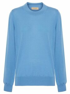 Burberry Logo Detail Merino Wool Sweater - Blue