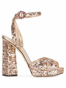 Dolce & Gabbana Rose Gold sequin 135 platform sandals - Metallic