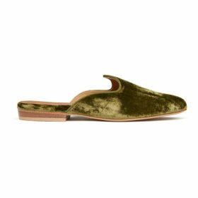 Le Monde Beryl Green Crushed Velvet Venetian Mule