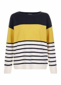 Sofia Wool Cashmere Striped Sweater Navy Multi
