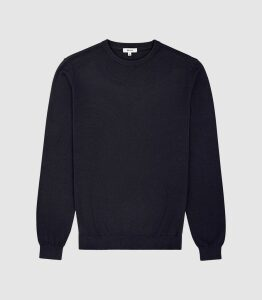 Reiss Maurice - Cotton Crew Neck Jumper in Midnight, Mens, Size XXL