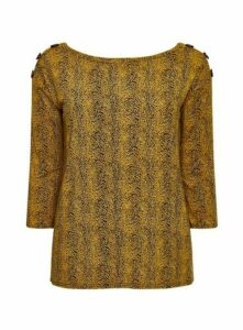 Ochre Animal Print Button Top, Yellow