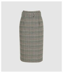 Reiss Connie - Checked Skirt With Belt in Multi, Womens, Size 14
