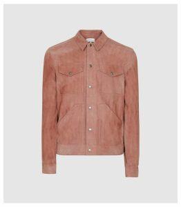 Reiss Sakura - Suede Trucker Overshirt in Soft Pink, Mens, Size XXL