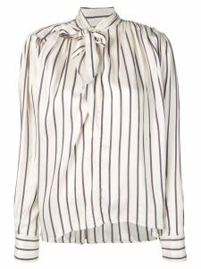 Isabel Marant pussy bow striped blouse - Neutrals