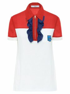 Prada ruffle zipper polo shirt - White
