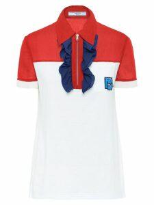 Prada ruffle zipper polo shirt - White
