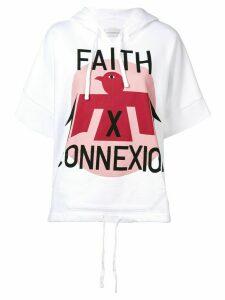 Faith Connexion logo print short sleeve hoodie - White