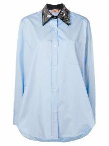 Nº21 oversized sequin-collar shirt - Blue