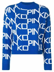 Pinko logo funnel neck sweater - Blue