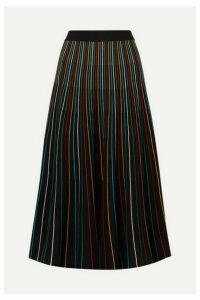 REDValentino - Striped Cotton-blend Midi Skirt - Black
