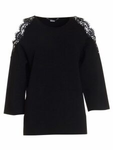 Stella Mccartney Stretch Knit Sweaters With Lace Inserts In Black