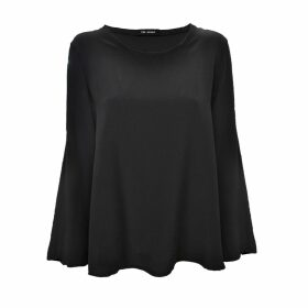 THE AVANT - Charcoal Silk Crewneck Blouse
