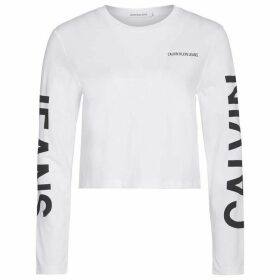 Calvin Klein Jeans Institutional Back Logo Long Sleeve T Shirt - Bright White