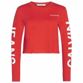 Calvin Klein Jeans Institutional Back Logo Long Sleeve T Shirt - Racing Red