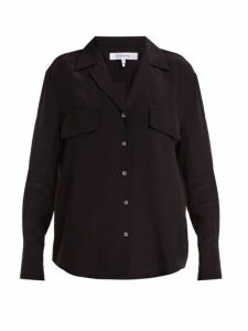 Frame - Chest Pocket Silk Shirt - Womens - Black
