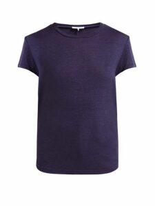 Frame - Slubbed Linen-jersey Crew-neck T-shirt - Womens - Navy