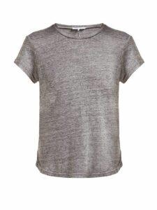 Frame - Slubbed Linen-jersey Crew-neck T-shirt - Womens - Grey