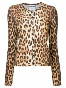 Moschino leopard printed cardigan - NEUTRALS