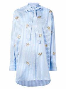 Valentino embroidered floral detail shirt - Blue