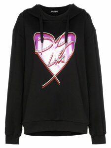Dolce & Gabbana love heart print hoodie - Black