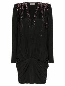 Attico V-neck crystal embellished mini dress - Black