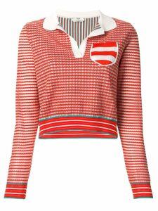 Fendi knitted polo top - ORANGE