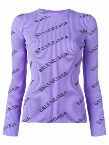 Balenciaga logo ribbed jumper - PURPLE