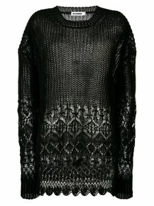 Jil Sander oversized sheer jumper - Black