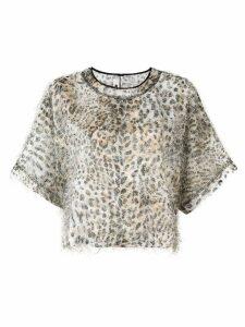 McQ Alexander McQueen fuzzy leopard print top - Neutrals