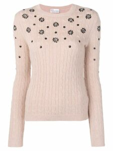 Red Valentino embellished cable knit jumper - Pink
