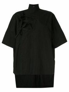 Y's tie front shirt - Black