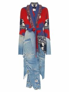 Alanui x Greg Lauren denim and cashmere overalls cardigan - Red