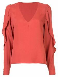 Bianca Spender Concorde slit sleeve blouse - Red