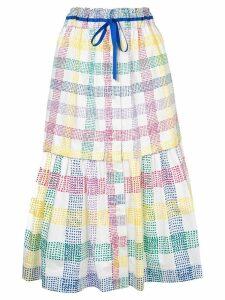 Mira Mikati check print midi skirt - White