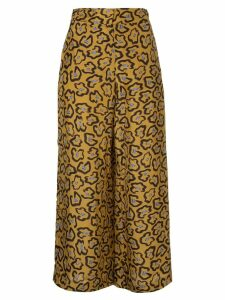 Christian Wijnants cropped printed trousers - Brown