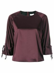 Rosetta Getty ruched drawstring sleeve top - Red