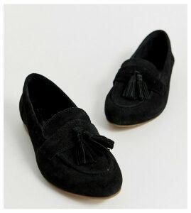 ASOS DESIGN Wide Fit Message suede tassel loafers-Black