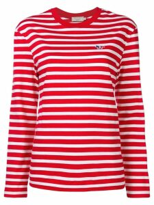 Maison Kitsuné striped logo sweatshirt - Red