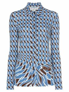 Prada Argyle print long-sleeved shirt - Blue