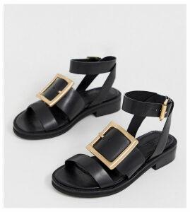 ASOS DESIGN Wide Fit Forever premium leather flat sandals-Black