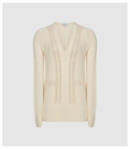 Reiss Inari - Pointelle Detailed Jumper in Off White, Womens, Size XXL
